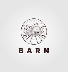 vintage farmer barn logo design barn engraving vector image