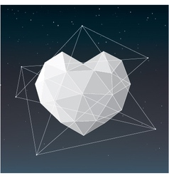 White geometrical heart background vector