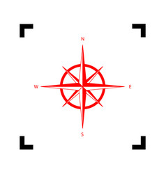 wind rose sign red icon inside black vector image vector image
