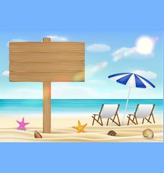 wood board sign on sea sand beach vector image