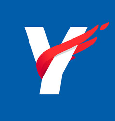 Y letter logo with fast speed red bird wing vector