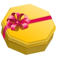 Yellow gift box with ribbon and bow vector image