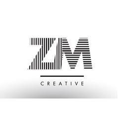 Zm z m black and white lines letter logo design vector