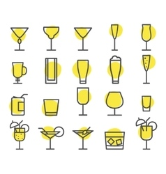 Beverage icons set Cocktail drinks vector image