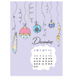 doodle christmas december 2018 vector image vector image