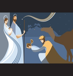flat nativity scene vector image vector image