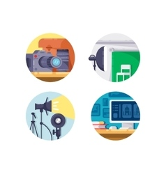 Photography industry icon collection vector image