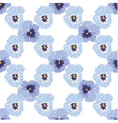 seamless pattern with pansies flower on white vector image vector image