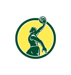 Basketball Player Dunk Ball Circle Retro vector image vector image