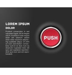 Push button 3d red glossy metallic icon template vector image