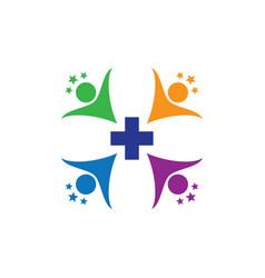 Human health cross with star logo image vector