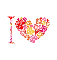 I love flower Symbol heart of flowers roses vector image