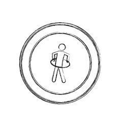 monochrome sketch of training in hula hoop in vector image vector image