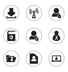 set of 9 editable global icons includes symbols vector image vector image