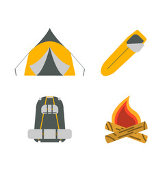 tent campfire backpack sleeping bag flat icons vector image
