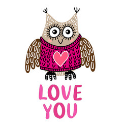 valentine s day greeting card with owl vector image
