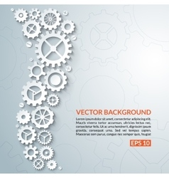 Abstract techno background with white gear wheels vector image