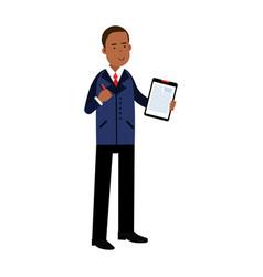 black businessman cartoon character in elegant vector image