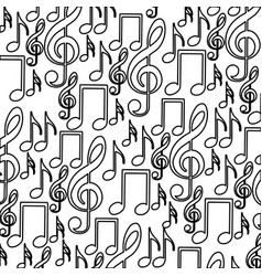 monochrome background with pattern of musical vector image
