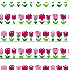 red and pink color abstract tulip flower motif vector image