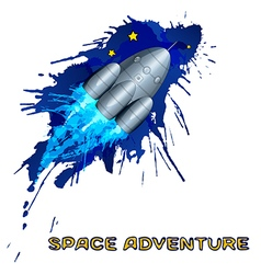 Space rocket with grunge splashes vector image vector image