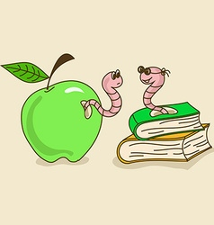 with apple worm and bookworm vector image vector image
