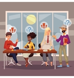 Young creative business people discussing ideas in vector image vector image