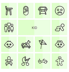 14 kid icons vector