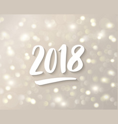 2018 hand drawn numbers white and gold sparkling vector image