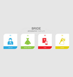 4 bride filled icons set isolated on infographic vector