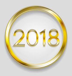 abstract 2018 new year golden circle button vector image