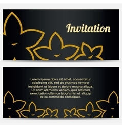 Abstract Invitation with flowers vector