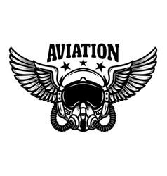 Airplane pilot helmet with wings design element vector