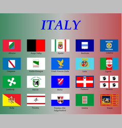 All flags italy regions vector