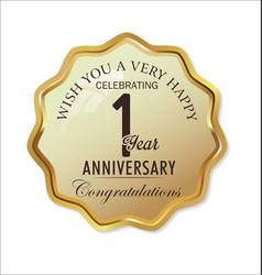 Anniversary retro label 1 year vector