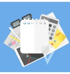 background with office supplies and empty spiral vector image