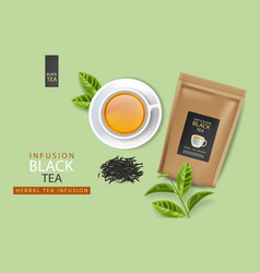 Black tea bag and cup realistic product vector