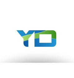 blue green yd y d alphabet letter logo vector image