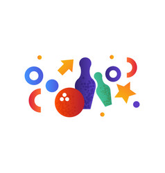 bowling pins and ball on a vector image