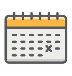 calendar filled outline icon time and date vector image