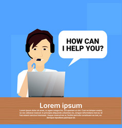 call center headset agent man bubble client vector image