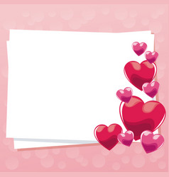 Card greeting pink hearts gloss empty vector