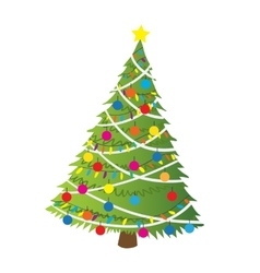 Cartoon christmas tree flat sticker icon vector image