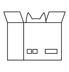 Cat in a cardboard box icon outline style vector