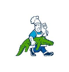Chef Alligator Spatula Walking Cartoon vector