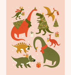 christmas holiday set with festive dinos vector image