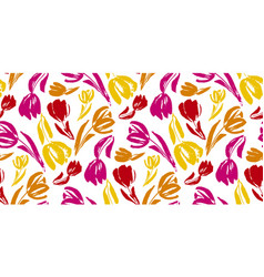 colorful tulip flower sketch seamless pattern vector image