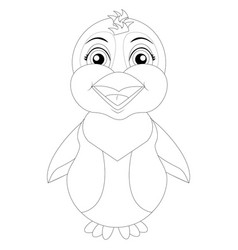 coloring page penguin vector image
