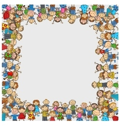 Crowd of children with a box shaped empty space vector image