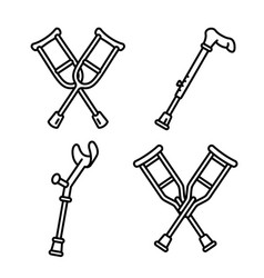 crutches icon set outline style vector image